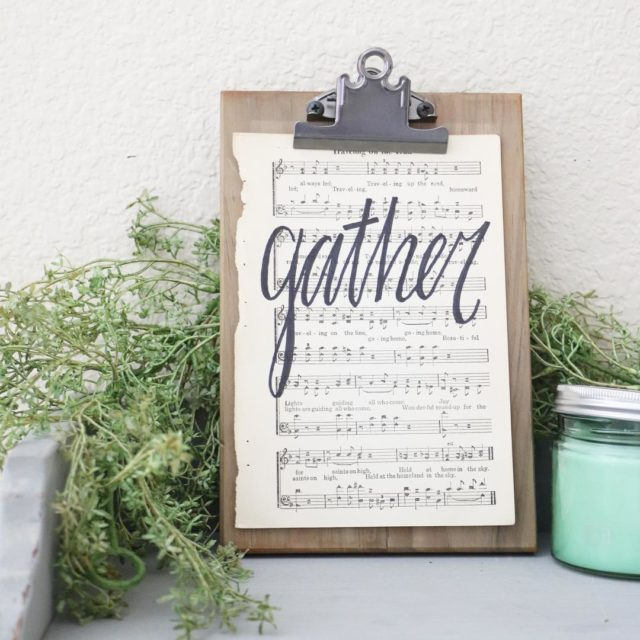 FOR SALE 16 Hand Lettered Gather Vintage Hymnal Page 10hellip