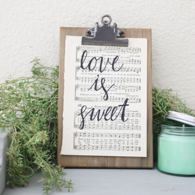 FOR SALE 56 Hand Lettered Love is Sweet Vintage Hymnalhellip